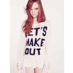 Wildfox Let's Make Out Distressed Lennon Sweater